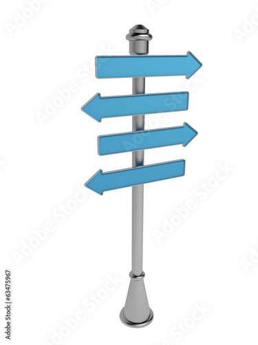 Signpost isolated on a white background. Advertising pointer. 3D
