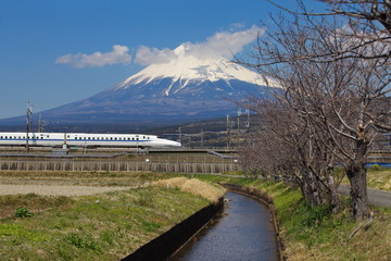 japan bullet train shinkansen and mountain fuji