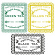 set green yellow black tea stamp