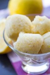 Lemon ice cream sorbet, balls in glass, refreshing summer diet