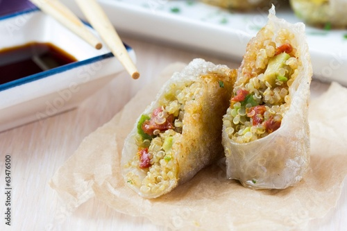 Asian spring rolls stuffed with quinoa, vegetables, crisp