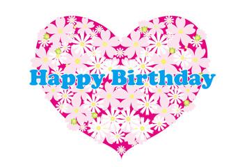 ピンクの花柄ハートの誕生日カード