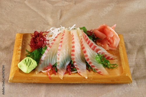 Perch sashimi