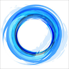 Blue vector background with brush strokes and splashes. Round fr