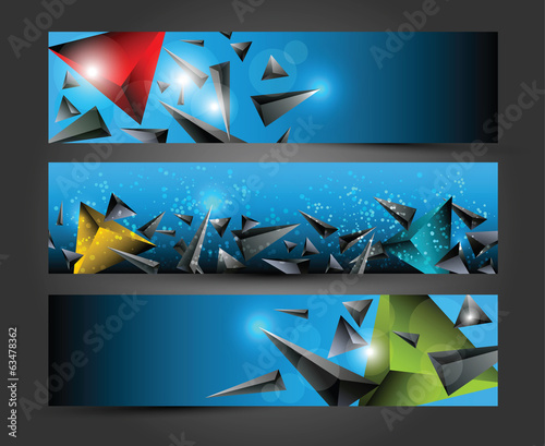 Set of three banners, Abstract colorful  3D triangle background