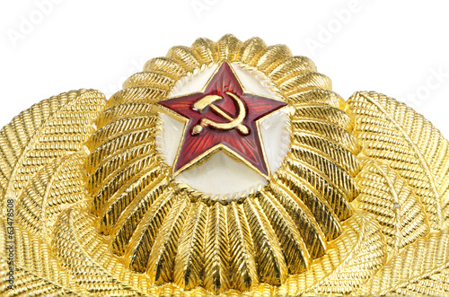 Russian military gold badge with a red star