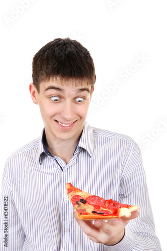 Surprised Teenager with Pizza