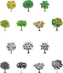 リンゴやブドウ等、カラフルな果実の木のアイコン