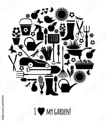 Garden icons illustration
