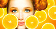 canvas print picture - Beauty model girl with juicy oranges. Freckles