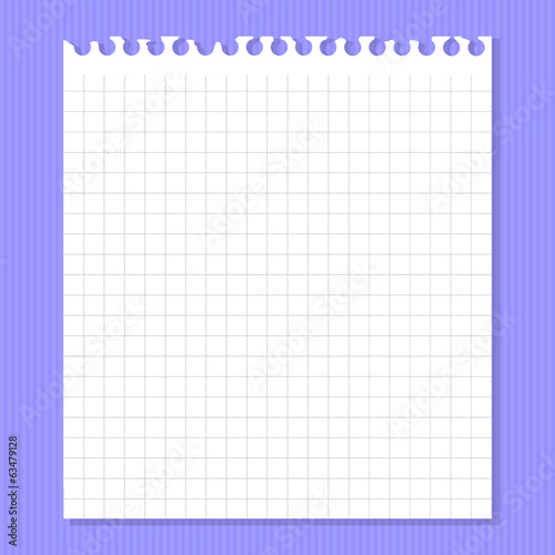 White piece of paper on a purple