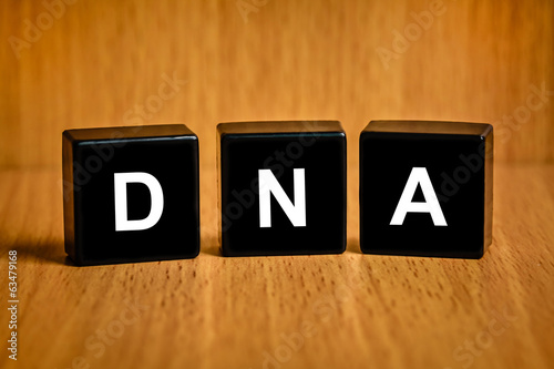 Deoxyribonucleic acid or DNA word on black block