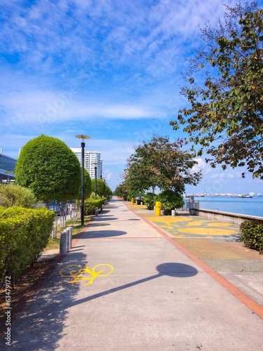 Walkway by the coastline of Penang island