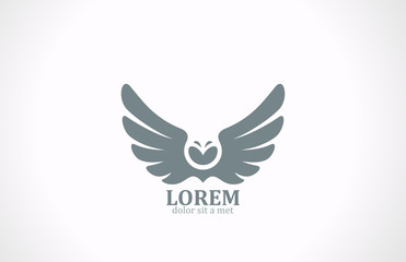 Bird wings abstract vector logo design. Flying Owl icon