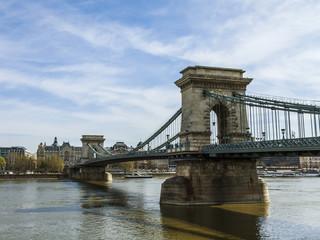 Budapest, Hungary. Chain the bridge through Danube