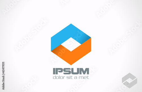 Corporate abstract vector logo design. Rhombus icon