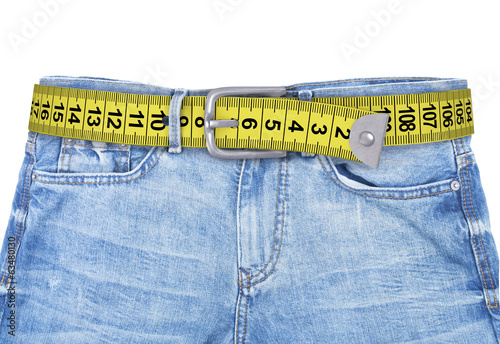 jeans with meter belt slimming isolated on the white background