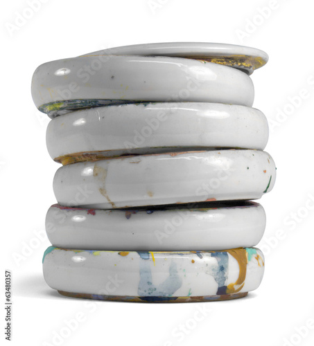 stacked paint mixing bowls