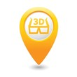 Map pointer with 3D glasses icon