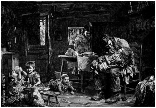 Large Family : poor Peasants - 18th-19th century