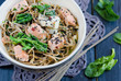 Chinese soba noodles with fish and spinach