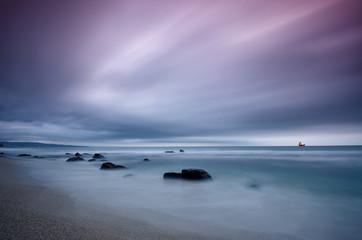 Stormy sea before sunrise