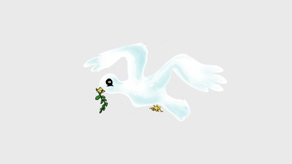 white dove with olive branch, cartoon stop motion peace symbol