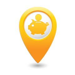 Map pointer with piggy bank icon