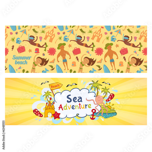 Summer holidays banners set, templates for ilustration holiday