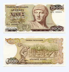 Greece, 1000 drachmai, 1987