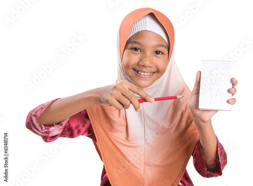 Young Muslim Girl With Notepad