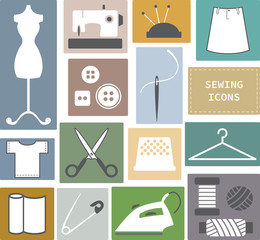 Sewing and needlework icons