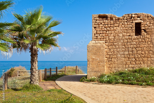 Promenade and ancient tomb in Ashkelon, Israel.