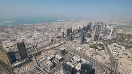 Panorama of Dubai from Burj Khalifa tower