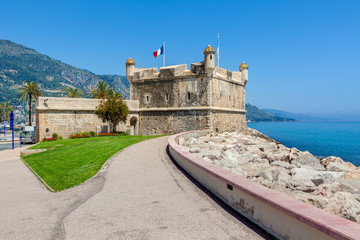 Promenade and medieval citadel in Menton, France.