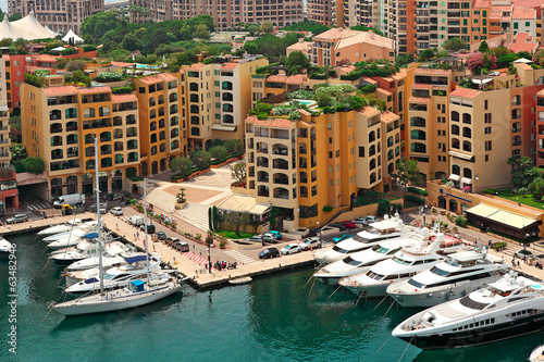 Marina and modern buildings in Monte Carlo, Monaco.