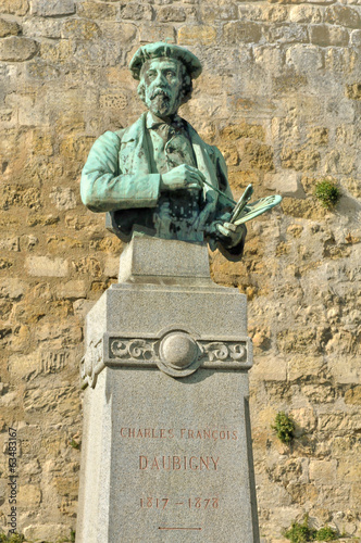 France, a statue of Daubigny in Auvers sur Oise