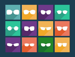 Icon Set Flat Sunglasses - Illustration