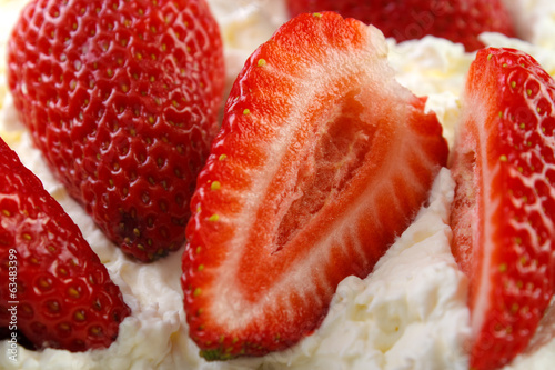 canvas print picture Strawberries with whipped cream