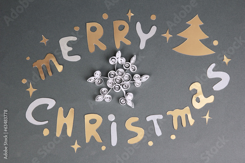 Merry Christmas lettering on grey background