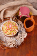 Bowl with kutia -  traditional Christmas sweet meal in Ukraine,