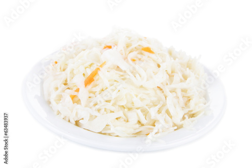 Marinated cabbage (sauerkraut), isolated on white