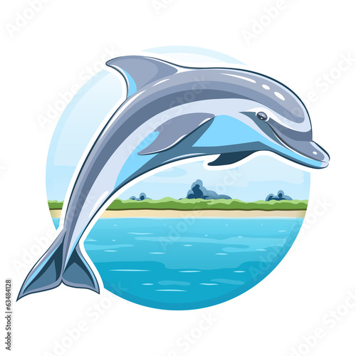 Dolphin on sea background. Eps8 vector illustration. Isolated