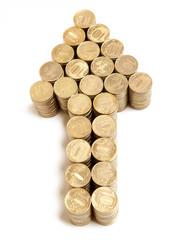 Arrow of golden coins