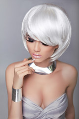 Blond girl. White Short Hair. Hairstyle. Makeup. Beauty Fashion