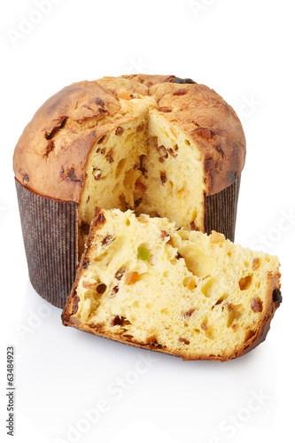 Panettone and slice on white, clipping path