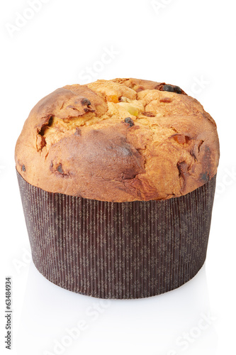 Panettone, italian Christmas cake on white, clipping path