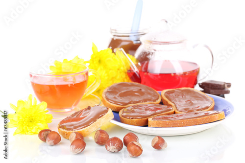 Bread with sweet chocolate hazelnut spread