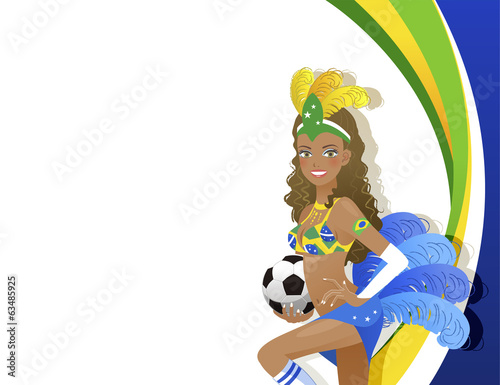 ブラジル サッカー カーニバル Attractive Carnival dancer holding soccer ball