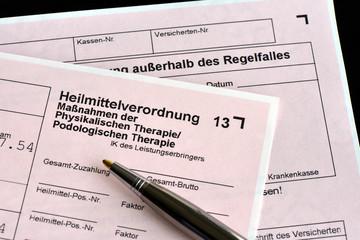 Heilmittelverordnung, Krankengymnastik, Physiotherapie, Rezept